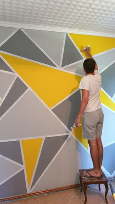 Wall Painting Living Room, Wall Painting Decor, Room Paint, Bedroom Wall Designs, Accent Wall Bedroom, Yellow Walls, Gray Yellow, Geometric Wall Paint, Wall Paint Patterns