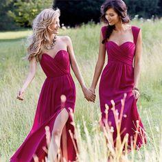 Sweetheart Beach Long Bridesmaid Dresses 2016 Chiffon Criss-Cross Wedding Party Dresses