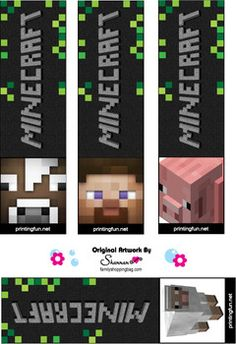 Bookmarks and lots of free minecraft printables Minecraft Party, Minecraft Banners, Minecraft Crafts, Free Minecraft Printables, Minecraft Invitations, Lego Minecraft, Minecraft Skins, Minecraft Buildings, 6th Birthday Parties