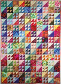 """My Happy Quilt"" by Wanda S. Hanson at Exuberant Color; made with a combination of Kaffe Fassett fabrics and batiks"