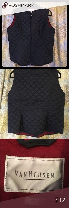 VAN HEUSEN QUILTED WOMENS VEST Perfect condition!!! Women's large quilted vest. 100% black Nylon shell with 100% polyester red lining. BEAUTIFUL!! Two available. One black/red and one green/blue. Van Heusen Jackets & Coats Vests