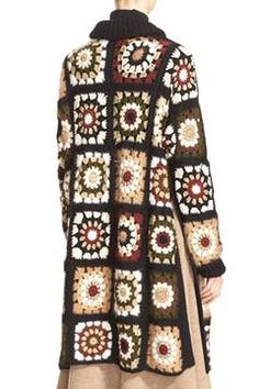 Alternate Image 2 Selected - Rosetta Getty 'Granny Square' Mixed Media Cardigan