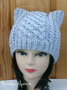 Cat Ear Hat Knit Cat Ear Hat Cat Beanie Womens Knit Hat Cat Hat Cat Beanie,Wool/Acrylic, Knit , Women by NataKnitwork on Etsy https://www.etsy.com/listing/248449163/cat-ear-hat-knit-cat-ear-hat-cat-beanie