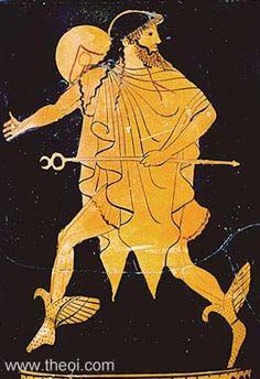 Attic Red Figure Lekythos attributed to the Tithonus Painter. Early Classical Greece, c. Hermes, messenger of the gods, flies on winged boots. He holds his kerykeion or herald's wand in hand, and wears a petasos (traveller's cap) and chlamys (cloak). Greek And Roman Mythology, Greek Gods, Ancient Greek Art, Ancient Greece, Greek Paintings, Son Of Zeus, Greek Pottery, Art Antique, Greek History