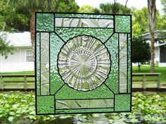 Stained Glass Window Suncatcher featuring 1930s Depression Glass Plate