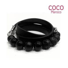 Natural leather bracelet with lazurite  CM secret. Black
