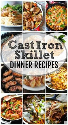 Cast Iron Skillet Dinner Recipes More than 40 Cast Iron Skillet Recipes from Breakfast to Dessert. This list of Cast Iron Skillet recipes continues to grow so bookmark this page or pin it! This post contains affiliate links. Chef Recipes, Dinner Recipes, Cooking Recipes, Cooking Dishes, Dinner Ideas, Recipies, Quiche Recipes, Fast Recipes, Cooking Tools
