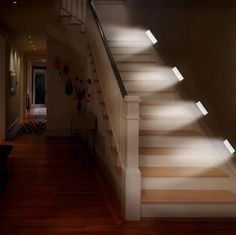 Motion Sensor Stair Lights LED Battery Operated for Indoor, Closet, Stairs, Garage and Stair Lighting, Closet Lighting, Sensor Night Lights, Light Sensor, Long Hallway, White Led Lights, Garage House, Lamp Light, Light Bulb