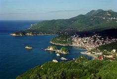 View of Parga from a chapel on a hilltop south of town, Preveza, Epirus_ Greece Beautiful World, Most Beautiful, Beautiful Places, Ancient Greece, Greece Travel, Planet Earth, Places To See, Around The Worlds, Europe