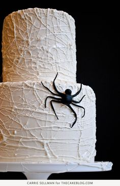 How to Make a Marshmallow Spiderweb Cake for Halloween | Tutorial by Carrie Sellman for TheCakeBlog.com
