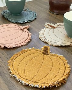 Art Gallery Fabrics denim substrate made into a pumpkin coaster, DIY fall season Fabric Coasters, Diy Coasters, Quilted Coasters, Fabric Crafts, Sewing Crafts, Sewing Projects, Fabric Art, Autumn Crafts, Holiday Crafts