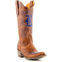 sale Gameday Boots Womens 13' Tall Brass Leather Rice Cowboy Boots (5) RIC-L005-1