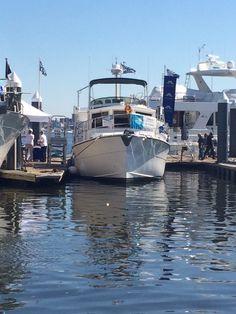 Veteran Loop Boat seen at TrawlerFest.  See the Gold Burgee?