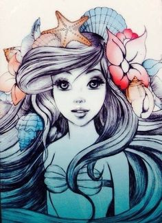 This would make a sweet piece! ARIEL from the little mermaid disney movie with a flower crown sketch sketches illustration illustrations with watercolor pastels pastel color scheme colors Disney Kunst, Arte Disney, Disney Art, Punk Disney, Disney Merch, Disney Collection, Ariel The Little Mermaid, Ariel Mermaid, Mermaid Sketch