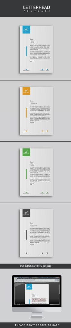 Features: | A4 & US Paper Size with (0.25 inch) Bleeds | Fully Editable in PSD, AI, DOCX & DOC | CMYK Color Mode | Design in 300 DPI Resolution | Print Ready Format | 04 Color variation Well Organized Layers | Files Included: 4 Adobe Photoshop (PSD) File | 4 Adobe Illustrator (AI) File | 4 Adobe Illustrator (PDF) File | 4 MS Word (DOCX) File | 4 MS Word (DOC) File | 1 Information File | Free Font Used: Roboto, Exo