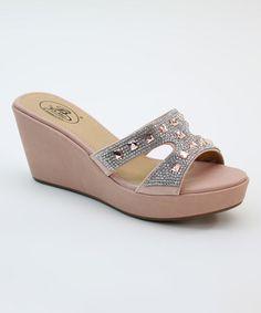 a5a0ce5bcdf Champagne Rhinestone Jewel Wedge Sandal by Italina  zulilyfinds