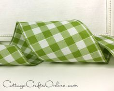 "Sage green and white linen style large check plaid ribbon with interesting stitch detail, 4"" wide with a wired edge by boutique luxury ribbon company, d. stevens.From the Cottage Crafts Online shop on Etsy, where we help your ideas become creations."