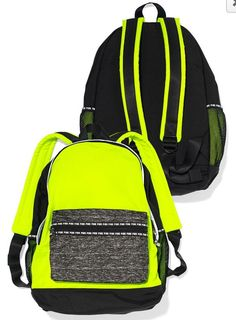 VICTORIAS SECRET PINK CAMPUS BACKPACK NEON YELLOW GRAY MARL LARGE BOOKBAG NEW! #VictoriasSecret #Backpack