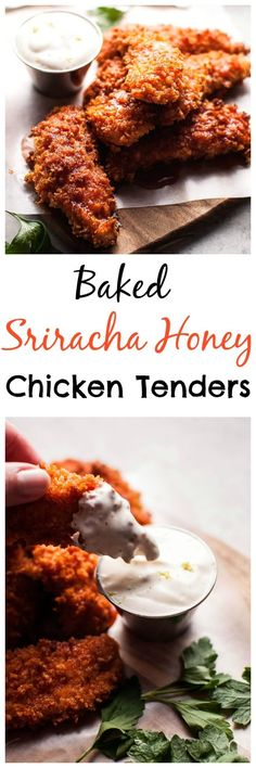 Low Carb Recipes To The Prism Weight Reduction Program These Baked Sriracha Honey Chicken Tenders Are Crunchy, Spicy, Sweet, And Sticky. Presented With A Refreshing Dipping Sauce On The Side I Love Food, A Food, Good Food, Food And Drink, Yummy Food, Tasty, Turkey Recipes, Chicken Recipes, Do It Yourself Food