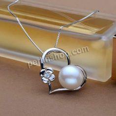 925 Sterling Silber Anhänger, mit Perlen, Herz, platiniert, Micro pave Zirkonia, weiß, 25mm