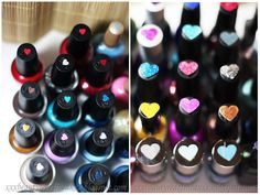 Love this idea for nail polish organizing! Instead of pulling out every single bottle to see the color, get a cute little heart punch out or white sticker and paint it with the nail polish and attach it to the top. Love this!