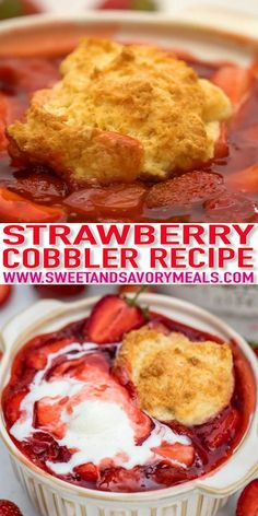 Easy No Bake Desserts, Homemade Desserts, Easy Desserts, Delicious Desserts, Yummy Food, Strawberry Cobbler, Strawberry Recipes, Homemade Snickers, Cupcakes