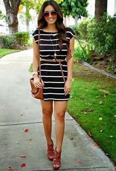 Nueva tendencia: Outfits de vestidos con rayas