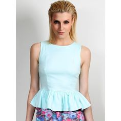 Mint Peplum Top - Gosh Celebrity Fashion Online ($42) via Polyvore