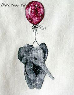 Схема для вышивки крестом. Cross stitch pattern. Слоник на шарике