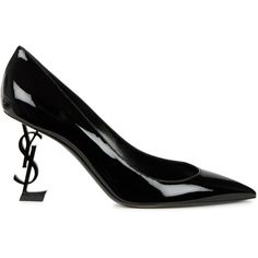 Saint Laurent Opyum Black Patent Leather Pumps - Size 4.5 (66,140 INR) ❤ liked on Polyvore featuring shoes, pumps, black slip on shoes, black high heel pumps, high heel shoes, black patent leather shoes and slip on shoes