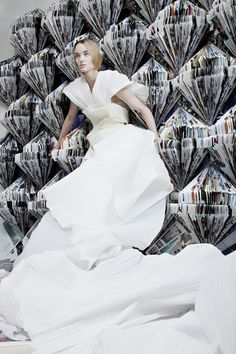 Fashion designer, Luis Valenzuela.  Gown from recycled paper  Photography Jorge Parra / Model Pernilla Fransander