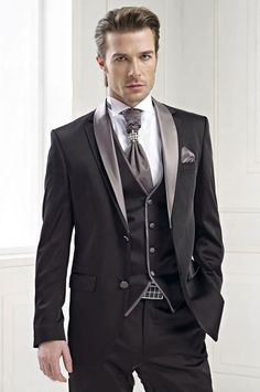 Charcoal Men Suit Formal Groomsmen Tuxedos Slim Best Man 3 Piece Wedding Suits