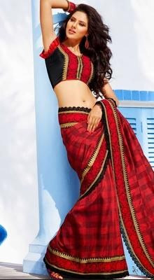 Enigmatic Burgundy Embroidered Saree