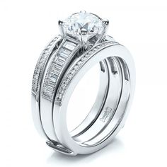 custom baguette channel engagement ring with jacket - Wedding Ring Jackets