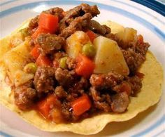 Picadillo mexicano (picadillo de carne con verduras) or sub ground bf w/turkey.