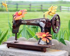 old sewing machine in the garden