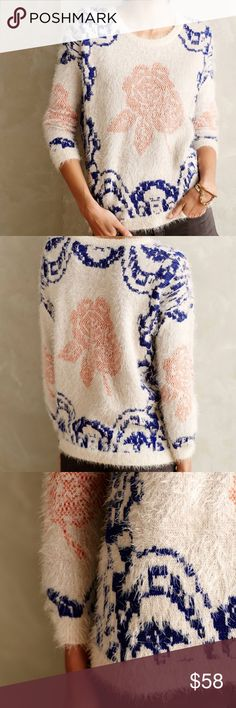 Anthro La Fee Verte Feathered Scroll Sweater Anthropologie La Fee Verte Feathered Scroll Pullover Sweater. Cream color with pink floral detail, and blue slightly shimmering knit. Long sleeve eyelash knit. Great condition. Rare anthropologie brand. Anthropologie Sweaters Crew & Scoop Necks