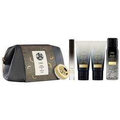 Travel with style with Oribe`s Travel Essentials Set, which includes some of the brand's cult products.<p>    <li><b> Set Includes:</b></li>  <li><b>• Gold Lust Dry Shampoo Purse Size (1.3oz):</b> Extend your blowout and prevent damage with our transformative dry shampoo.Absorbs product buildup, oil and impurities with translucent powders while soothing scalp and restoring strength and softness.</li><p>  ...