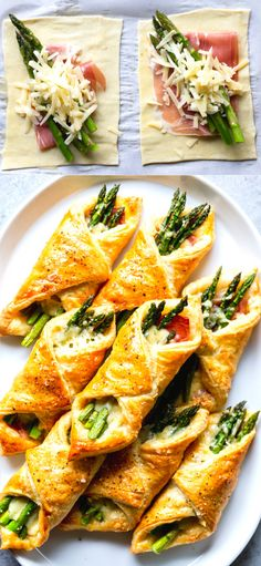 These Prosciutto Asparagus Puff Pastry Bundles are an easy and elegant appetizer or brunch idea! Perfect for Easter, Mother's Day or any other spring brunch! Healthy Dinner Recipes, Appetizer Recipes, Cooking Recipes, Easter Recipes, Appetizer Ideas, Dip Recipes, Recipies, Dessert Recipes, Prosciutto Asparagus