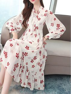 Spring Skirts, Chiffon Gown, Skirt Fashion, Flower Power, Dresses Online, Korean Fashion, Dresses With Sleeves, Lace, Long Sleeve
