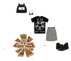 """Working at Satan's Pizza Parlor"" by keeperoftheart ❤ liked on Polyvore featuring Fred Perry, Converse and Disce Mori"