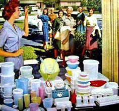 "So: Tupperware is swell! It keeps food freshy-fresh and comes in many fashion shades (as shown). So why does this ad to me say, ""Lives of quiet desperation"" and ""Wine bottle concealed in juice pitcher""? (Tupperware party 1960s)"