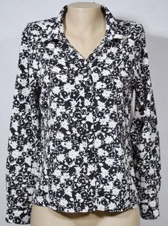 ELEMENTZ Black/White Floral Shirt Blouse Medium Long Sleeves Unlined Collared #Elementz #Blouse #Casual