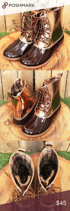 969b716a3106 Yoki Brown   Metallic Gold Duck Boots (RUNS SMALL)  New Boutique Item