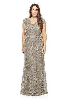 Metallic Corded Embroidery on Tulle V-Neck Gown - PLUS SIZE