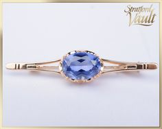 Vintage ~ Created Ceylon Sapphire Bar Pin ~ Yellow Gold with Trombone Catch ~ ct Lab Created Oval Ceylon Blue Sapphire ~ by StratfordVault on Etsy Ceylon Sapphire, Blue Sapphire, Trombone, Lab, Jewels, Yellow, Trending Outfits, Antiques, Create