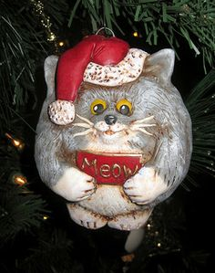 grey cat ornament cats christmas holiday christmas tree noel navidad http://www.meowganizer.com