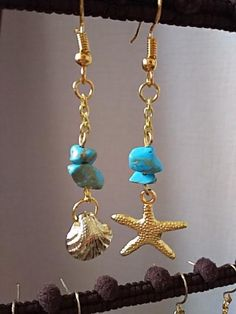 star dangle earrings with seed beads and chains