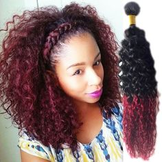 Crochet Real Hair : 50g/Bundle Afro Curly Wave Real Human Hair Weft Grade 6A 2 Tone Remy ...