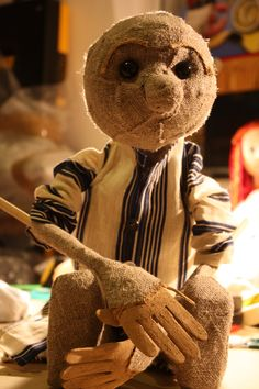 Tabletop puppet made from foam, burlap and dowel. Made by Tenna Rhiger